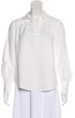 Frame Linen-Blend Long Sleeve Blouse