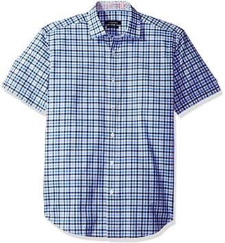 Bugatchi Men's Donald Short Sleeve Plaid Check Button Down Shirt