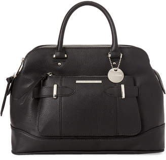 Steve Madden Black Blorraine Belt Faux Leather Satchel