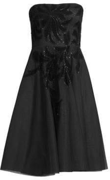 Aidan Mattox Strapless Velvet Floral Tea-Length Dress