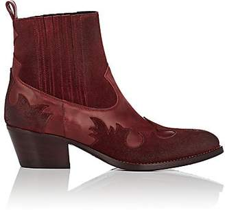 Barneys New York Women's Leather & Suede Western Ankle Boots - Red