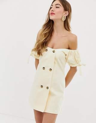 Bardot Asos Design ASOS DESIGN denim double breasted mini dress