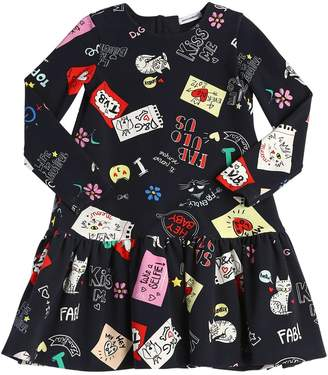 Dolce & Gabbana Doodles Print Cotton Interlock Dress