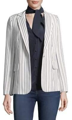 Striped Button-Front Blazer