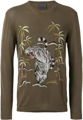 Laneus jungle embroidered jumper