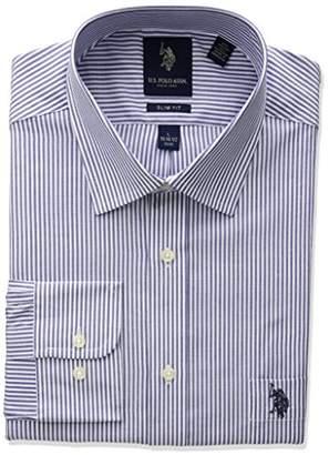 U.S. Polo Assn. Men's Slim Fit Striped Semi Spread Collar Dress Shirt