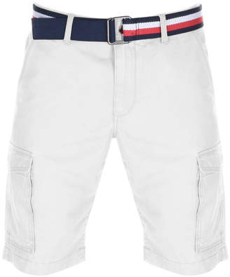 Tommy Hilfiger John Twill Belt Cargo Shorts White
