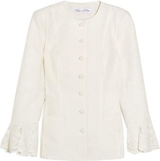 Oscar de la Renta - Lace-trimmed Cotton-blend Cloqué Jacket - White $2,390 thestylecure.com