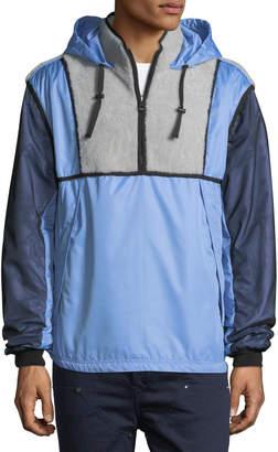 Lanvin Shearling-Trim Hooded Wind-Resistant Jacket