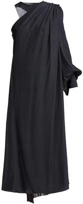 HILLIER BARTLEY Polka-dot one-shoulder silk dress