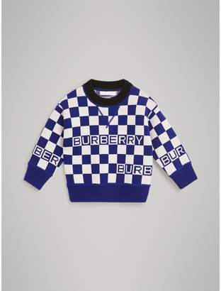 Burberry Chequer Jacquard Merino Wool Sweater , Size: 8Y, Blue