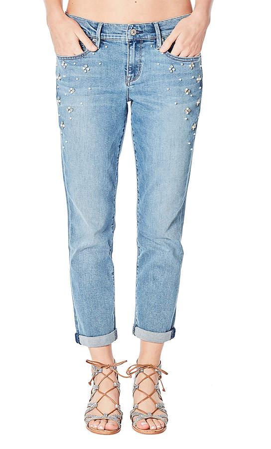 Medium Blue Imitation Pearl Croped Boyfriend Jeans - Women