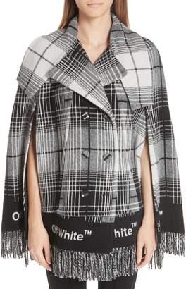 Off-White Check Blanket Cape