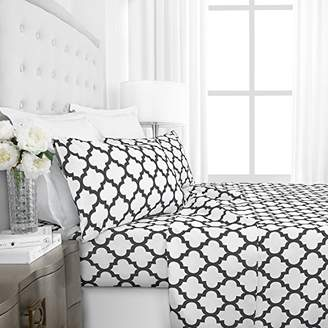 Hotel Collection Egyptian Luxury 1800 Series Quatrefoil Pattern Bed Sheet Set - Deep Pockets