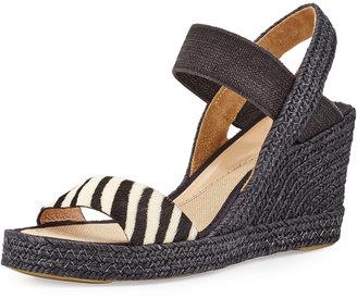 Andre Assous Blaire Espadrille Wedge Sandal, Zebra $139 thestylecure.com