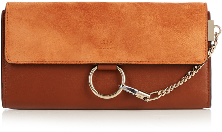 Chloé CHLOÉ Faye leather and suede wallet
