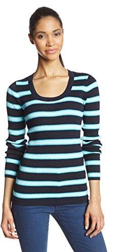 Jones New York Women's Long Sleeve Scoop Neck Ribbed Pullover
