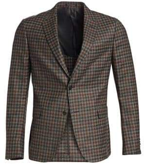 Ermenegildo Zegna Men's Deco Check Sportcoat - Grey Orange - Size 52 (42) R