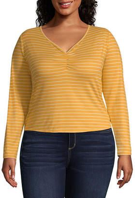 Arizona Long Sleeve V Neck Floral T-Shirt-Womens Juniors Plus