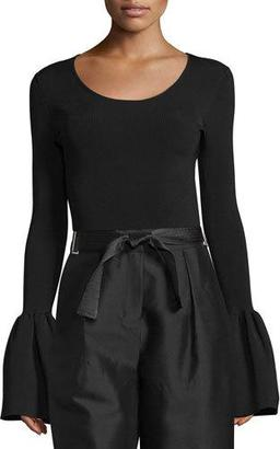 Elizabeth and James Willow Ribbed Bell-Sleeve Top, Black $325 thestylecure.com