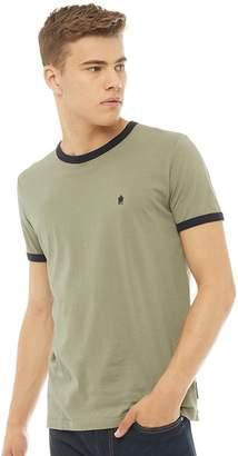 022e804b3 French Connection Mens Ringer T-Shirt Light Khaki/Marine