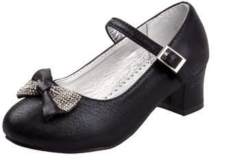 Laura Ashley Girls Mary Jane Mid Heel Dress Shoe with Rhinestone Bow, 13 US Little Kid