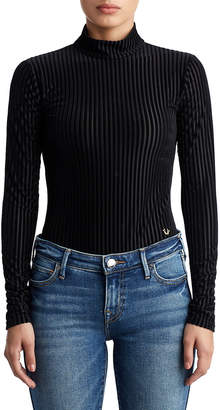 True Religion WOMENS VELVET MOCK NECK BODYSUIT