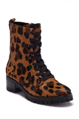 Schutz Zumira Genuine Calf Hair Leopard Print Combat Boots
