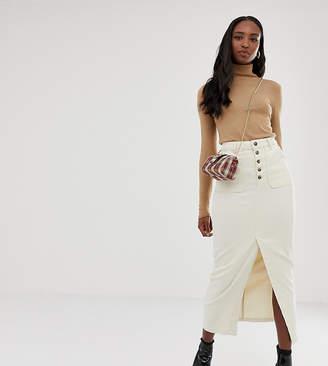 Off-White ASOS Tall ASOS DESIGN TALL Denim Premium midi skirt with button front in