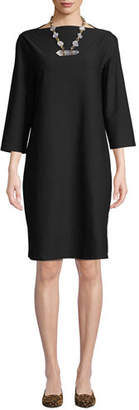 Eileen Fisher 3/4-Sleeve Washable Stretch-Crepe Dress