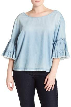 Melrose and Market Ruffled Sleeve Chambray Top (Plus Size)