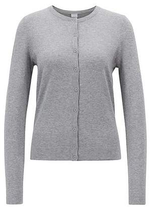 HUGO BOSS Cotton-blend crew-neck cardigan with cashmere and silk