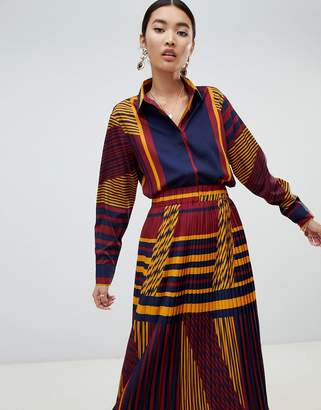 NA-KD two-piece color block blouse