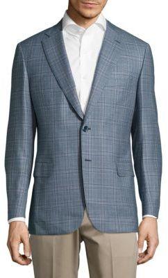BrioniClassic-Fit Plaid Wool Jacket