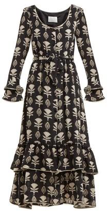 Athena Procopiou - Floral Print Silk Dress - Womens - Black White
