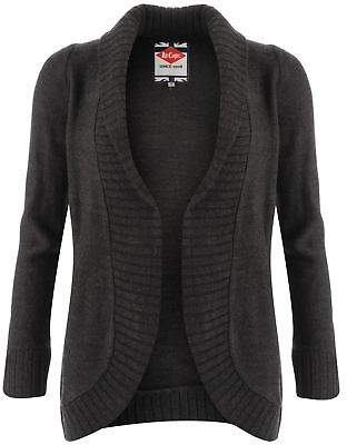Lee Cooper Womens Open Cardigan Jumper Top Long Sleeve Warm Fine Knit