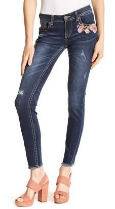 Grace In LA Denim Embroidered Floral Frayed Hem Skinny Jeans