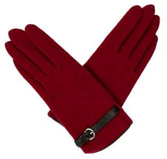 Portolano Wool Leather-Trimmed Gloves w/ Tags