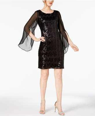 Connected Sequined Chiffon-Sleeve Dress