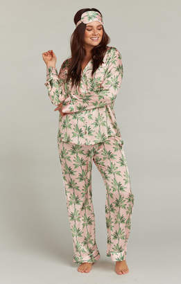 Show Me Your Mumu Paige PJ Set With Eye Mask ~ Walk the Palm Pink 7fcdb1d96