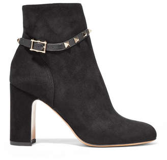 Valentino Garavani The Rockstud Leather-trimmed Suede Ankle Boots - Black