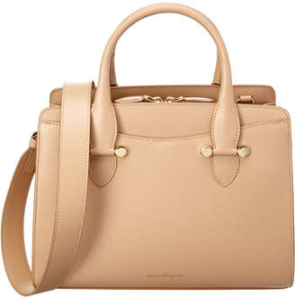 Salvatore Ferragamo Small Double Handle Leather Tote