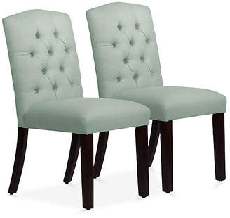 One Kings Lane Set of 2 Lea Tufted Side Chairs - Mint Linen