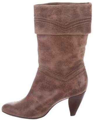 Frye Distressed Mid-Calf Boots Brown Distressed Mid-Calf Boots