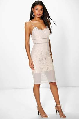 boohoo Sabina All Over Lace Panelled Midi Dress