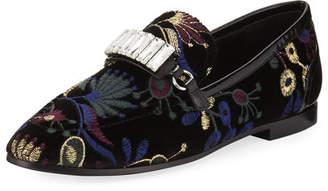 Giuseppe Zanotti Embroidered Jacquard Velvet Loafer, Black Pattern