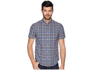 Original Penguin Plaid Linen Shirt Men's Short Sleeve Button Up