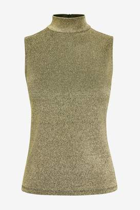 Warehouse Womens Gold Sparkle Funnel Neck Tank Top - Gold