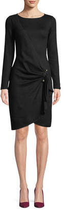 Emporio Armani Long-Sleeve Faux-Wrap Wool-Blend Dress w/ Metal Adornment