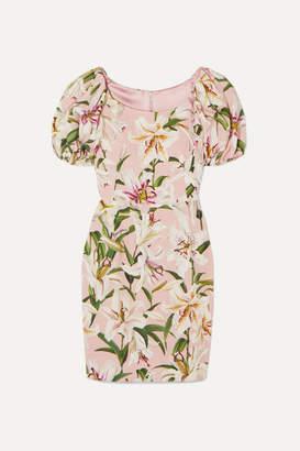 Dolce & Gabbana Floral-print Crepe Mini Dress - Pink